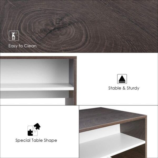 HOMFA Modern Coffee Table with Storage 2