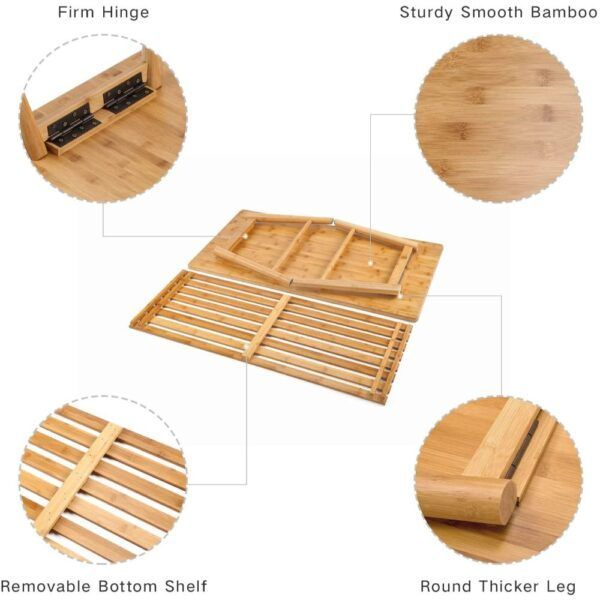 NNEWVANTE Foldable Bamboo Coffee Table