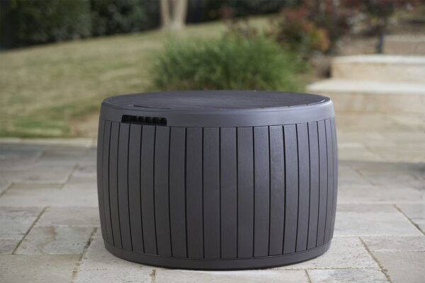 Round Deck Box Coffee Table with Storage 2