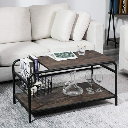 Rustic Coffee Table with Storage 3