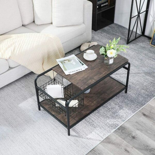 Rustic Coffee Table with Storage 4