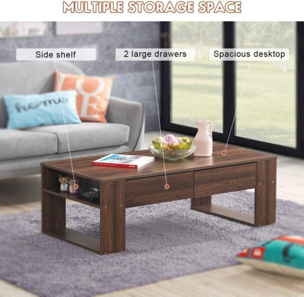 Giantex Coffee Table with Storage Drawers:
