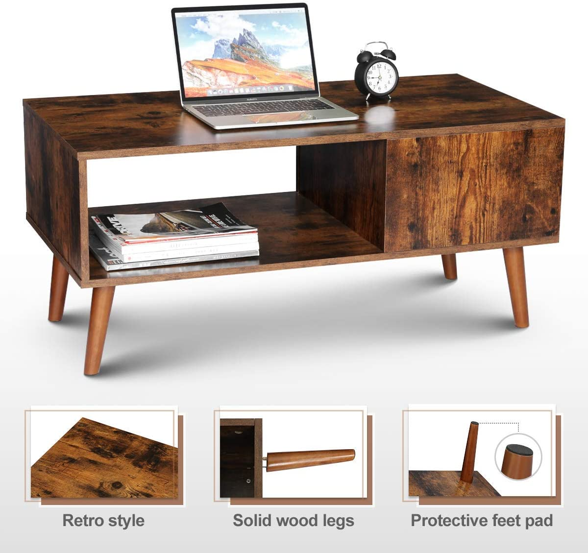 Picture of: Kingso Retro Coffee Table Mid Century Modern Coffee Table With Storage Shelf For Living Room Vintage Coffee Table Cocktail Table Tv Table Sofa Table Easy Assembly Wood Look Furniture Rustic Brown Home