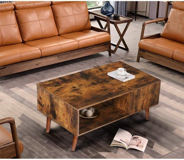 KINGSO Retro Coffee Table with Storage 1