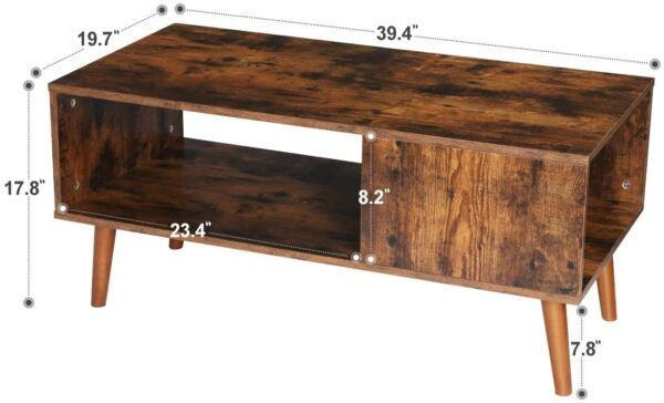 KINGSO Retro Coffee Table with Storage