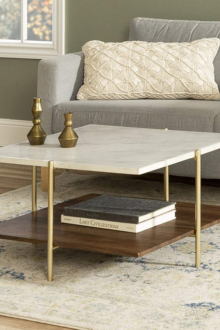 Modern Square Coffee Table with Storage
