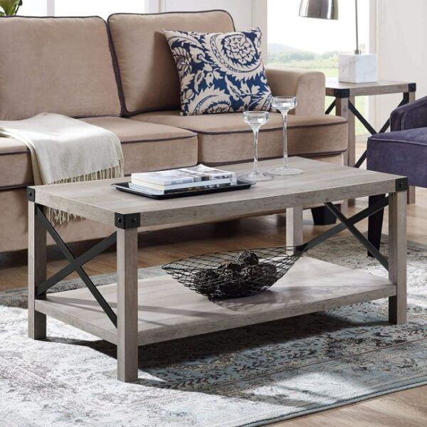 New 40 Inch Metal X Frame Coffee Table
