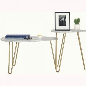 Athena Nesting Tables, White Marble