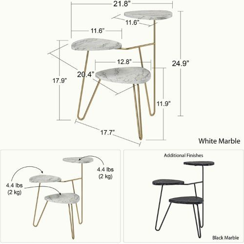 Ameriwood Home Athena Plant Stand, White Marble 2