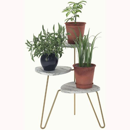 Ameriwood Home Athena Plant Stand, White Marble 1